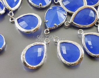 2 periwinkle purple blue faceted glass pendants / long teardrop glass charms 5060R-PW