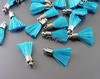 4 sky blue color handmade 18mm cotton tassels, small tassel charms for crafts / jewelry 2049R-SB