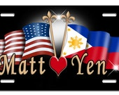 USA Philippine Flags Auto License Plate Personalize Gifts Any Name  Or Text Many Color Backgrounds America Filipino