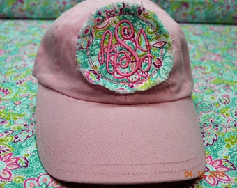 "THE ""AUBREY ""  INFANT  Pink Baseball Raggy Hat Monogrammed"