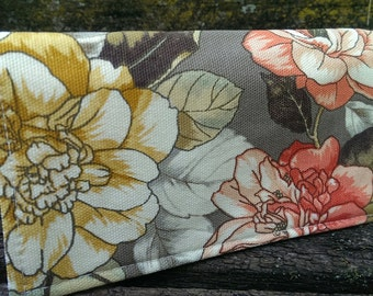 Handmade Fabric Checkbook Cover -  large floral pattern
