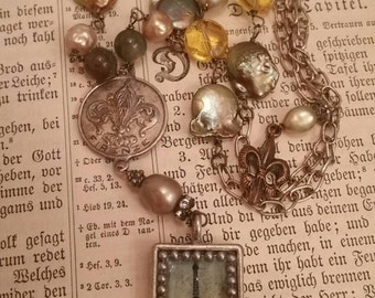 Upcycled Vintage Paris Assemblage Necklace, French Assemblage, ooak, Repurposed, Eiffel Tower, Fleur-de-lis