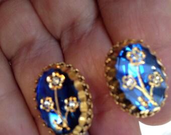 Juliana Style   Etched Flower Earrings Blue Glass
