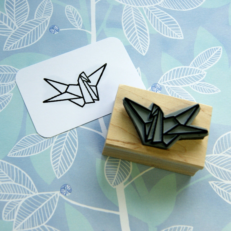 Origami Crane Japanese Rubber Stamp Japan by skullandcrossbuns - photo#36