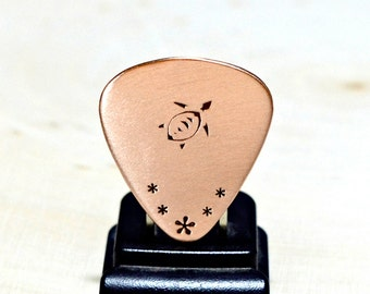 Copper guitar pick with sea turtle stamp - GP404