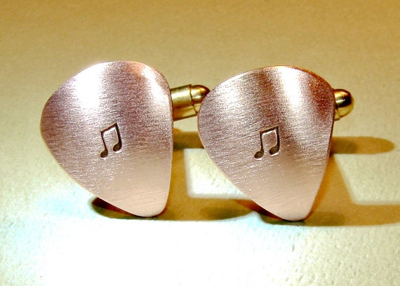 Guitar pick cuff links handmade from copper engraved with music notes or personalized hand stamping - CL118