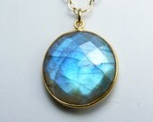 Labradorite Necklace, Faceted Round Labradorite Pendant with Iridescent Sky Blue, Cobalt Blue, and Aqua Flash, Gold Bezel and Chain