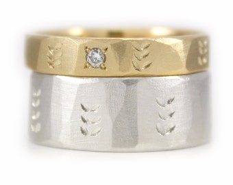 Wedding Ring Set His and hers 9kt Gold Argentium Silver Wedding Band set