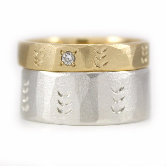 Wedding Ring Set His And Hers 9kt Gold Argentium Silver