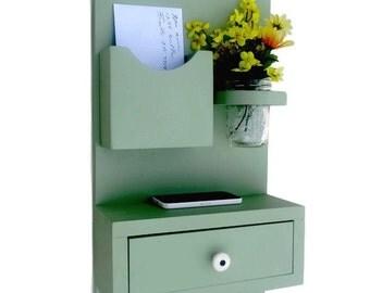 Shelf with Drawer Mail Holder -Mason Jar - Key Hooks - Key Rack - Painted Wood