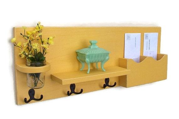 Mail Organizer - Mail Holder - Coat Hooks - Key Hooks - Jar Vase - Organizer - Coat Rack - Wood