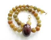 Beaded Gemstone Necklace Chunky Brown Necklace Big Bead Necklace Jade Jewelry Big Statement Necklace Semi Precious Large Stone Necklace Bold