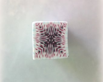 Polymer Clay Kaleidoscope Cane Maroon, Red, White No. 2348