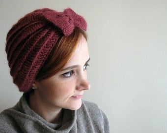 Dark Pink Crochet Beret with Bow