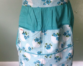 Vintage 1960s Half Apron- New with Tag- Silin's- Made in the USA- Green and Blue  Flowers-Cotton Apron