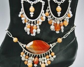 Eye of Carnelian Boot Candee Boot Bracelet or Necklace