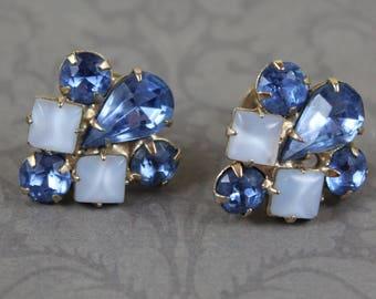 Vintage Light Blue Rhinestone and Pale Blue Moonstone Screw Back Earrings