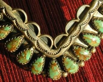 Navajo Sterling Silver Teardrop Turquoise Cuff Bracelet