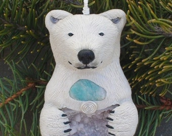 Polar Bear Polymer Clay Necklace - Animal Totem Crystal Geode - Winter jewelry