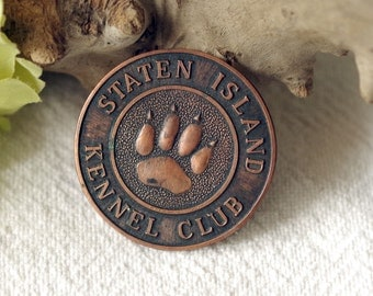 Vintage Staten Island Kennel Club Medallion Dog Award Medal Puppy Paw Prints