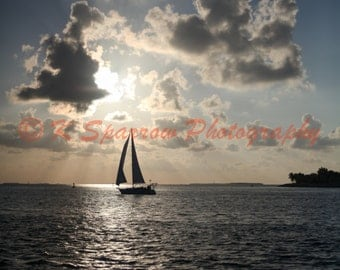 Key West, Florida, Photograph, Beach, Ocean, Sailboat, Mallory Square, Sunset