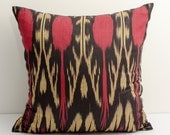 """14x14"""" red cream ikat pillow covers, ikat pillow, red black cushion, case, cotton pillow cover, decorative pillow, design, red pillows"""