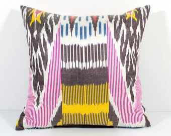 15x15 ikat pillow cover, pink pillow, yellow red