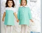 Toddler's Dress, Coat & Bonnet Pattern by Simplicity #1207= Sizes 1/2 thru 4 Uncut