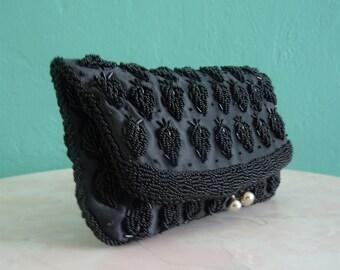 vintage 60's black beaded satin evening clutch // beaded handbag