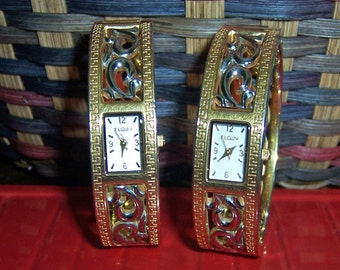 2 Ladies Elgin Gold tone and Silver tone Metal Watches, Japan Movement, Jewelry Repair or Repurpose Supplies