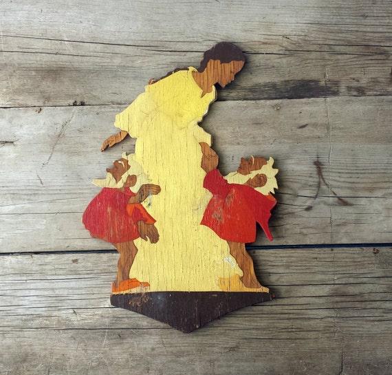 Vintage Snow White Wooden Cutout. Eifel Kunst Aschenputtel. Mertens.