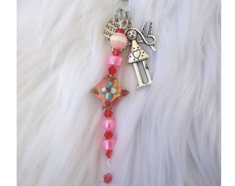 Love zipper pull /cute girl love charm/ cloisonne red pink gold beads / Valentines / Mothers day child gift mother, RTS, Item # CJF22-1042