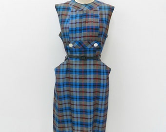 1950s  Dress ... Vintage 50s Wiggle Dress ... Blue Plaid Cotton ... Size Medium to Large