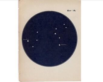 1910 mini constellation figures original antique celestial astronomy print -  map 16