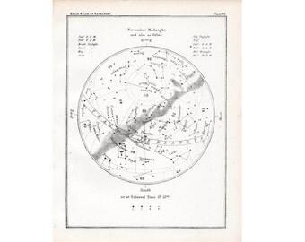 1892 NOVEMBER STARS LITHOGRAPH month original antique star map celestial birthday print galaxy lithograph