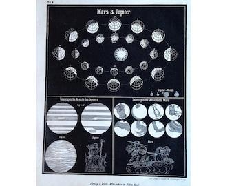1857 ANTIQUE PLANET LITHOGRAPH - jupiter celestial print original antique astronomy lithograph - mars & jupiter