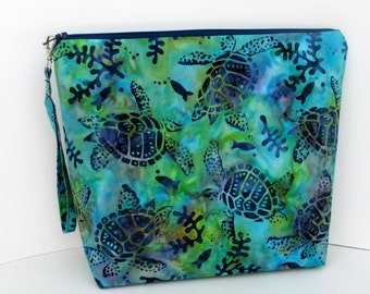 Project Bag, Tall Zippered Pouch, Turtle Reef Batik , Hawaiian Sea Turtle Cosmetic Bag
