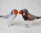Mr. or Mrs. Zebra Finch, needle felted pet bird sculpture