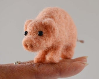 This little piggy, needle felted animal art sculpture