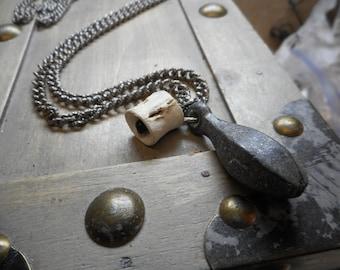Deadly Catch - Antique Fishing Weight and genuine shark vertebra bone Necklace
