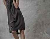 Winter Sale 15% Off!!! Pure SILK Little black dress with tying, evening dress