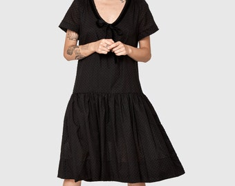 Black  dotted Omega dress - short sleeve dress- frill knee length dress- loose tunic- cotton dress- loose top - sexy dress- oversize dress