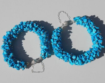 Natural Chalk Turquoise Chip Bracelet with Rhinestone Magnetic Clasp and Sterling Silver Safety Chain
