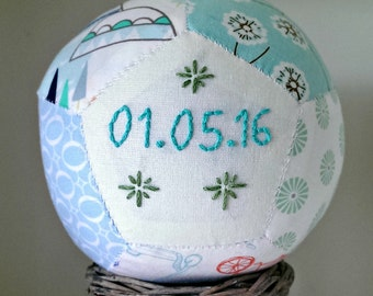 Personalised toddler baby gift, unique handsewn patchwork baby ball for baby boy christening gift toy rattle