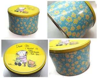 Vintage Tin, Display tin, Large tin, Cookie tin, Collectible tin, Storage tin, Blue Yellow tin, Knitters Gift, Floral tin, Dear God Kids