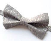 Big Guy BOW TIE - Black Gold and Silver Holiday Collection - Gray with Silver Dot (Teen Adult) - (Ready to Ship) Spring