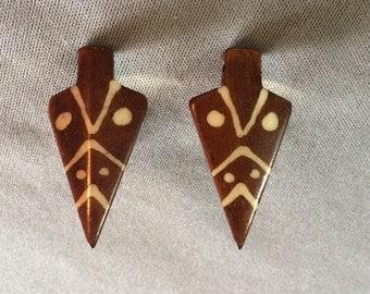 Horn tribal arrow clip on earrings
