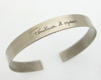Actual Handwriting Bracelet - Personalized Gift Idea - Custom Signature Bracelet - Engraved Sterling Silver Cuff - Memorial bracelet for Him