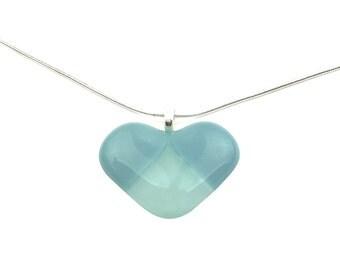 Pendant Necklace, Blue Patchwork Heart, Art Glass Jewelry