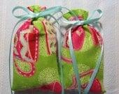 "Lime Green 3""X2"" Sachet-'Lemon Tea' Fragrance-Teacup Sachets-Pink/Turquoise Sachet-Turquoise Ribbon-Cotton  Herbal Sachet-Cindy's Loft-260"